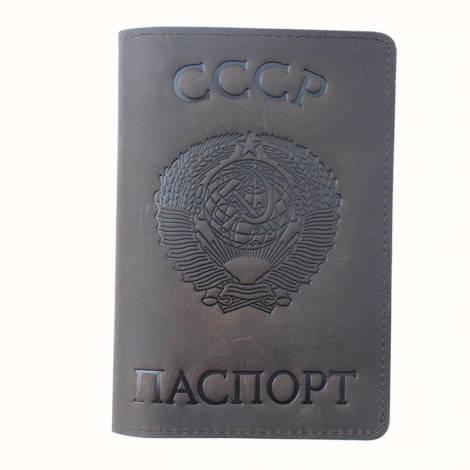 обложка для паспорта из натуральной кожи с гербом CCCP.